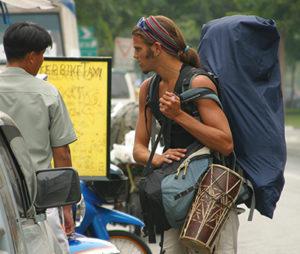 A backpacker in Bangkok