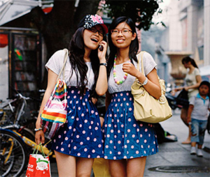 Girls wearing matching outfits on the streets of Beijing