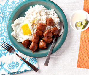 Longganisa and rice, a popular breakfast dish