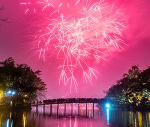 Fireworks during the Tet Nguyen Dan celebrations in Vietnam