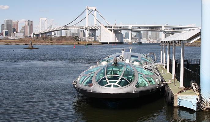 The <i>Himiko</i> boat docked at Odaiba
