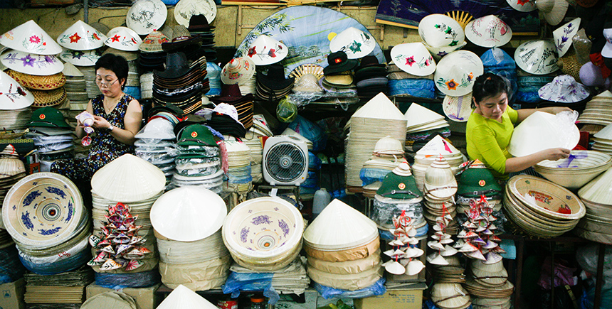 Conical hats sold as souvenirs
