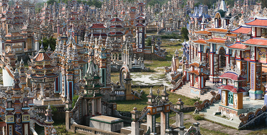 The colorful An Bang cemetery, just outside Hue