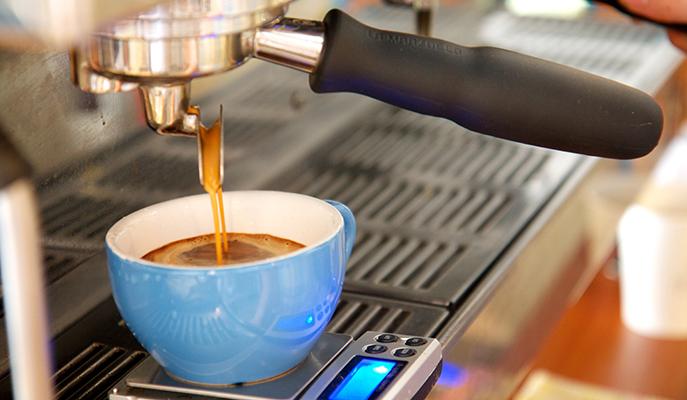 Preparing an espresso at Brew Bros Coffee