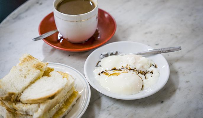 Kaya toast, eggs and coffee at Heap Seng Leong