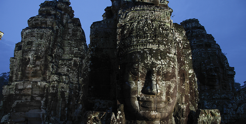 The stone sculptures of massive heads at Bayon are said to represent the Buddhist goddess of compassion, Avalokiteshvara