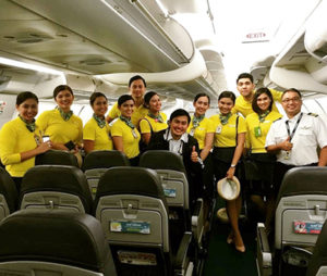 The deck and cabin crew on duty when baby Haven was born